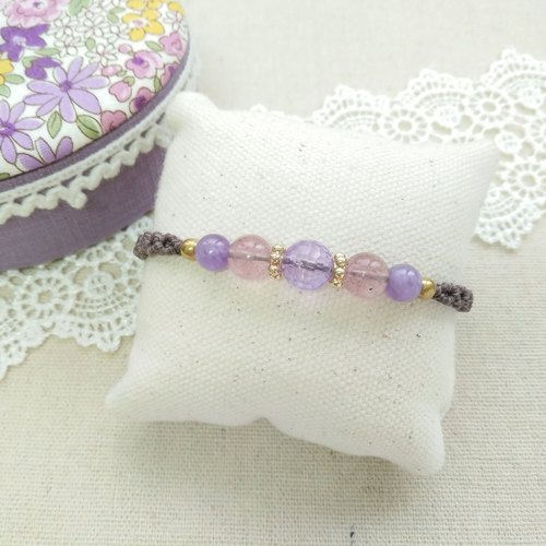 BUHO hand made. lilac. Amethyst X South American wax wax bracelet