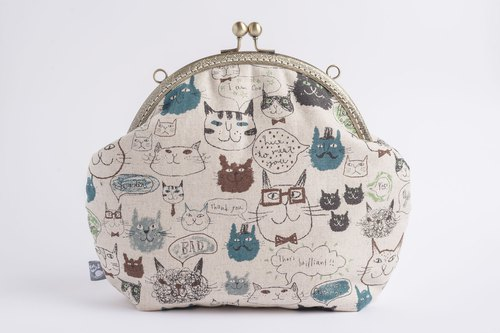 Children's cat / metal mouth gold bag / retro Messenger bag / portable bag