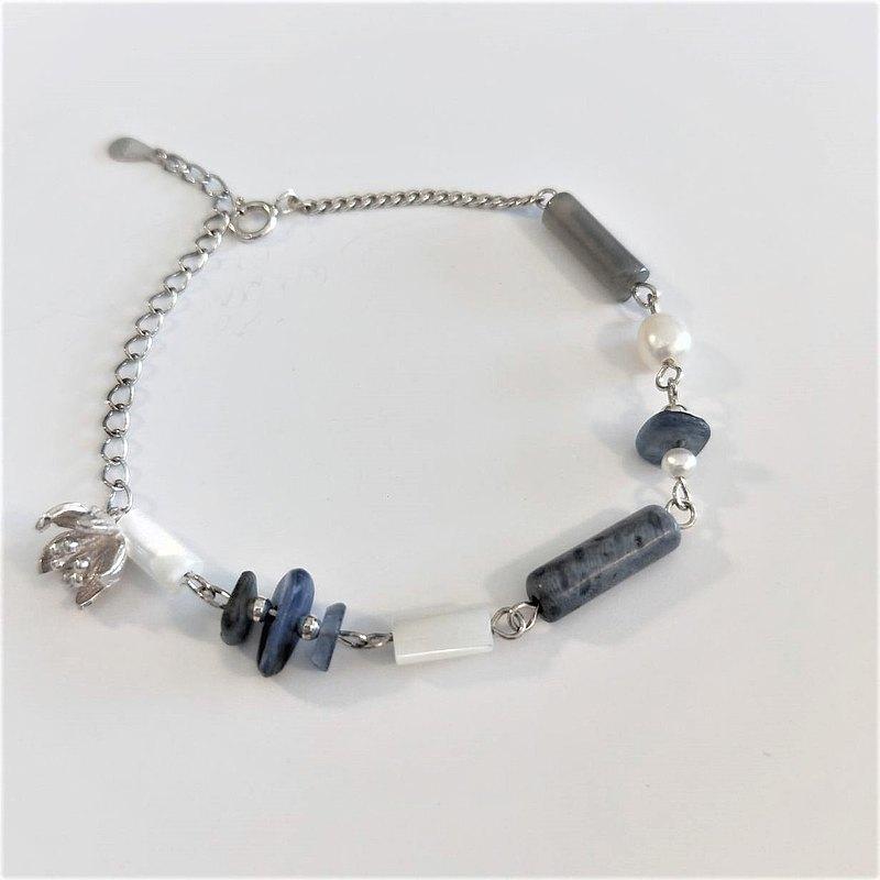 │特調│寧靜謐藍 • 天然石 • 純銀手鍊
