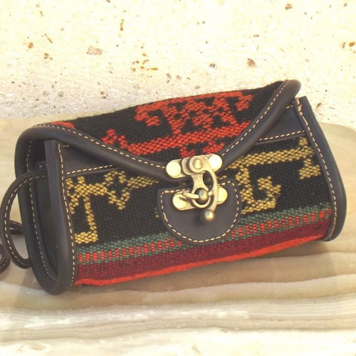 Kilim&Leather Shoulder/Clutch Bag - Small 125