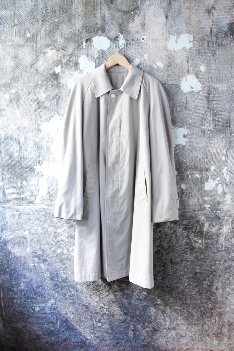 袅袅 Department Store-Vintage Light Grey Cotton Trench Coat