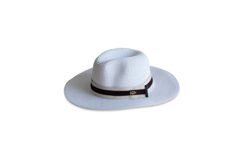 Pure white panama Hat (Bold strap) - The Woven Fedora hat #rarecolor