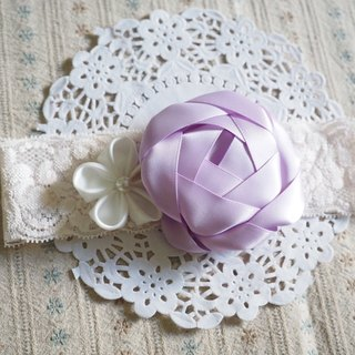 Purple ribbon flower baby elastic headband