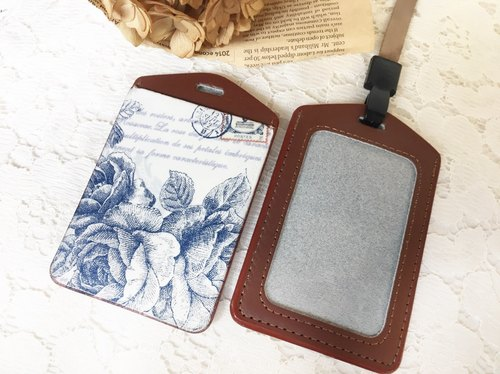 "Handmade Gifts' Hand true pickup sets of ""Blue Rose ticket leather card holder / card holder / badge / Valentine's Day birthday gift exchange (lanyard)"