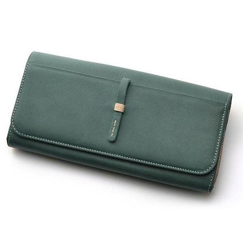 Long wallet genuine leather ladies navy handmade round fastener (cafe life series)