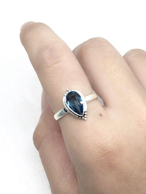 London Blue Topa 925 Sterling Silver Exotic Design Ring Nepal Handmade Mosaic (Style 2)