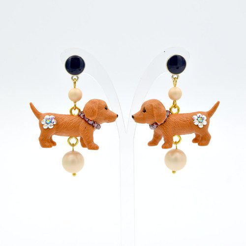 Sausage puppy earrings earrings Swarovski crystal flower ass