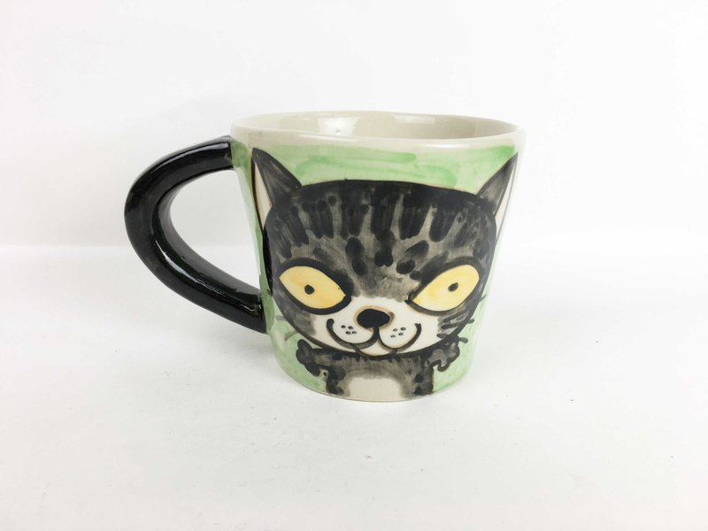 Nice Little Clay wide mouth mug two small cat 01062-11