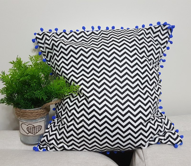 Scandinavian style minimalist black wave geometry pattern blue hair ball pillow / pillow
