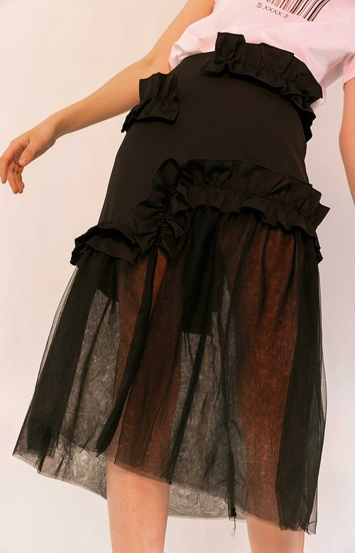 Irregular Ruffle Hem Mesh Wrap Skirt Fishtail Half Skirt