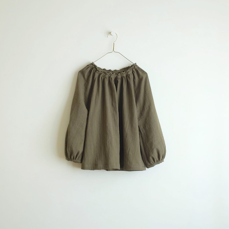 Daily hand made suit moss green puff sleeve elastic blouse cotton double yarn