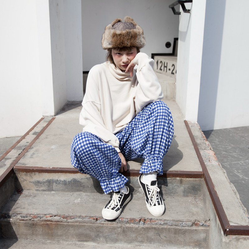 Hewu and original original plaid vintage flower trousers trousers cute Japanese thin hair loose bloomers