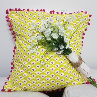 Nordic fresh pastoral style yellow pink flower pattern, pink hair ball pillow / pillow