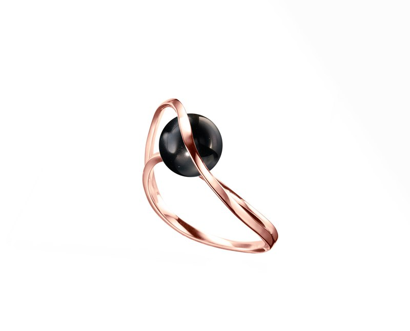 Black Tourmaline Engagement Ring, Dainty Jewelry in 14k Gold, Minimalist Ring