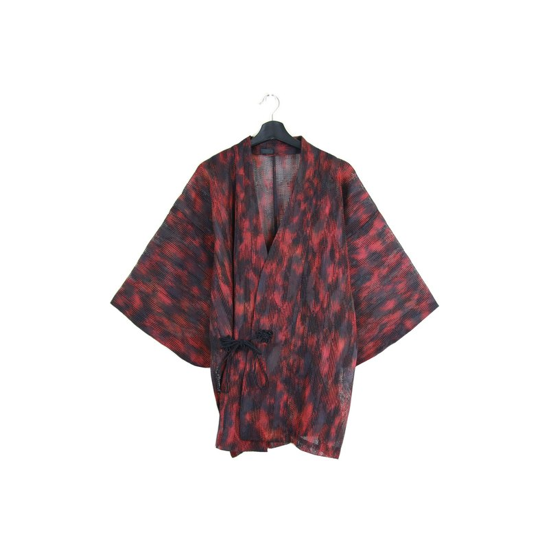 Back to Green :: Japan back to kimono plum blossom red brush strokes \ / men and women can wear / / vintage kimono (KI-52)