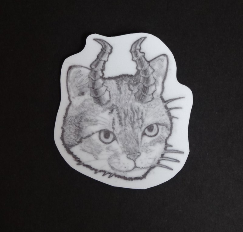 Devil cat waterproof sticker