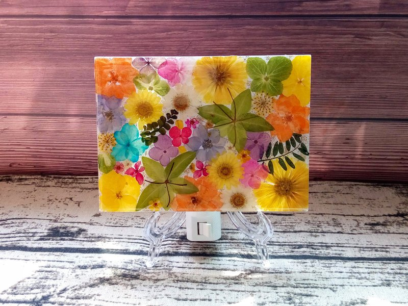 Pressed flower nightlight, Home Decor,Hand craft