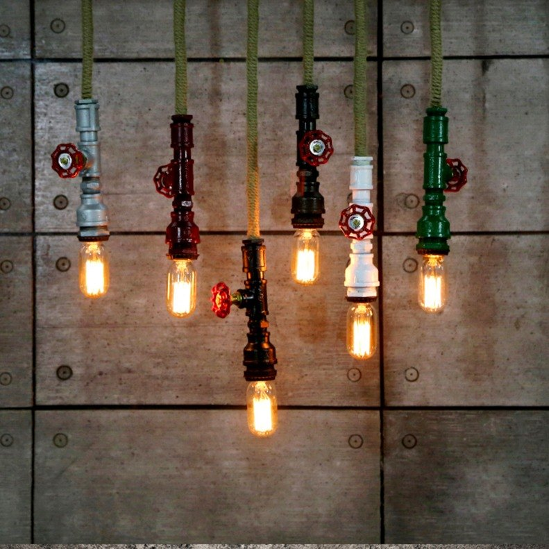 Industrial wind retro chandelier Nordic simple home restaurant decorative water pipe lamp industrial wind design