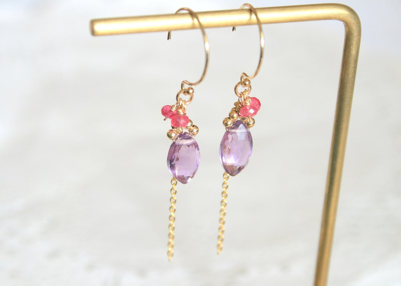 Summer style amethyst earrings can be changed to clip-on natural stone recommended good gifts