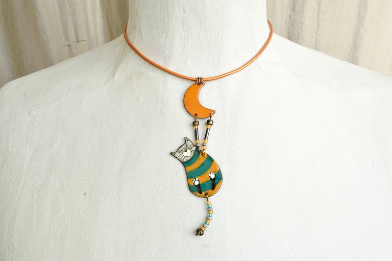 Jewelry, Necklace, Enamel, Cat, Moon, Enamel Pendant, Enamel Necklace, George, Enamel Jewelry, Cat Pendant, Cat Necklace, Boho Enamel Necklace, Cat Shaped Jewelry, Boho Necklace,