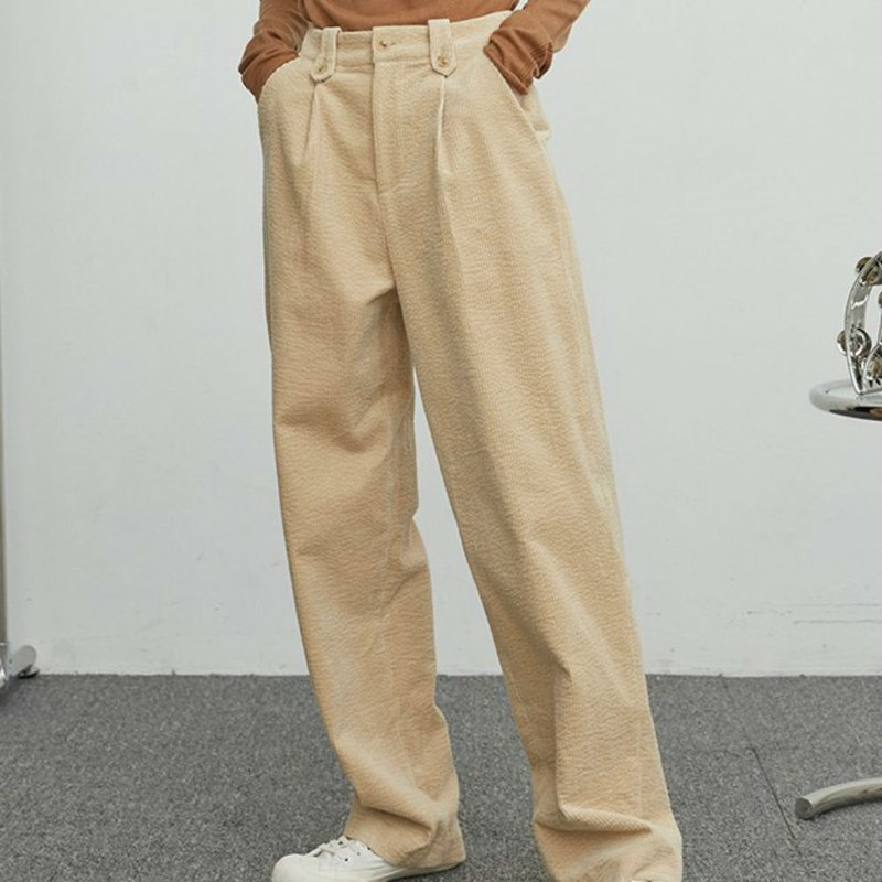 Corn soup color will enter the three-color stitching print in the winter, wash the corduroy straight cotton trousers
