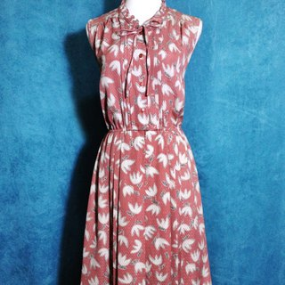 Ping-pong vintage [vintage dress / flower tie embossed vintage sleeveless dress] abroad back VINTAGE