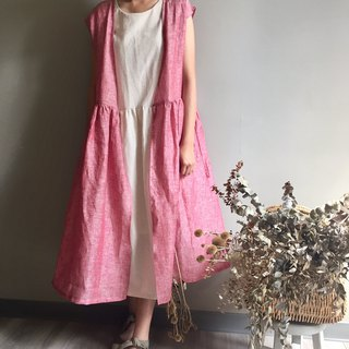 / Pink Butterfly Grassland / Pink Linen Cardigan Long Dress 100% Linen
