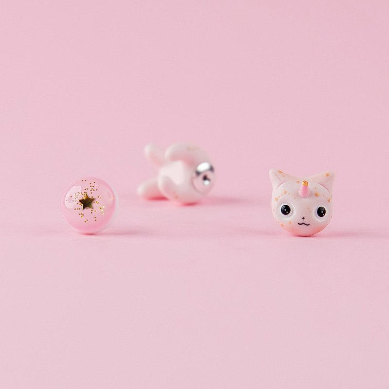 Pink|Golg Galaxy Caticorn Kitten - Polymer Clay Earrings, Happy Valentine's Day