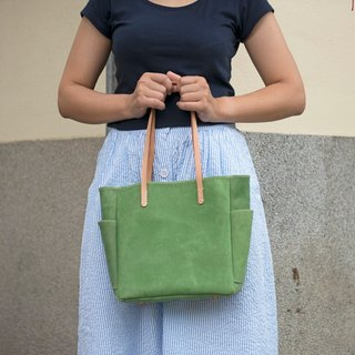 Be Two | handmade small Tote (green brush leather)