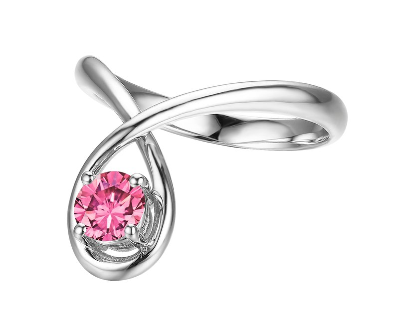 14k white gold minimalist ring. Pink sapphire engagement and wedding ring