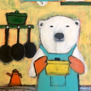 Polar bear chef original painting