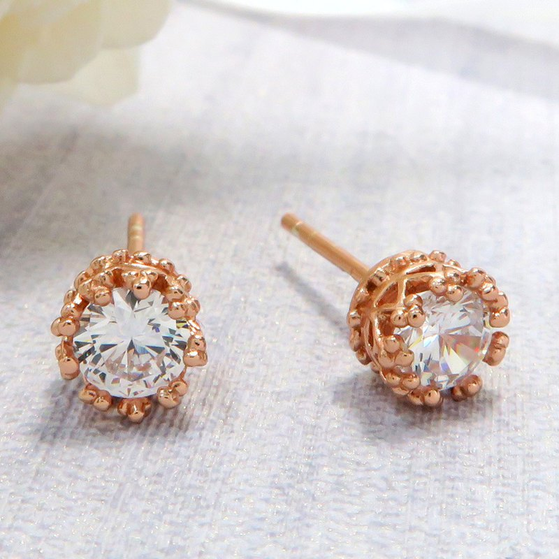 Elegant Green Crown Earrings-Rose Gold 925 Sterling Silver Earrings