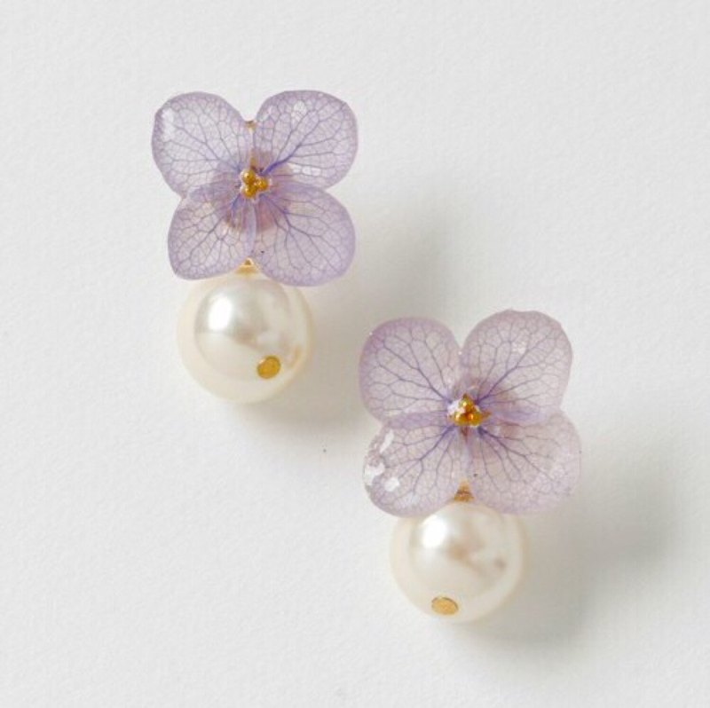 *Amethyst*Hydrangea pierce and pearl catch