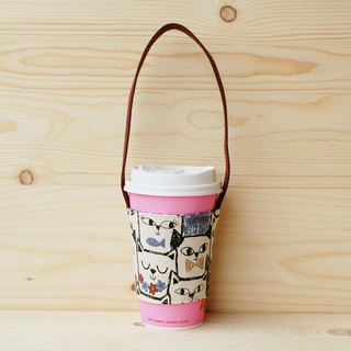 Square face cat drink bag/cup set