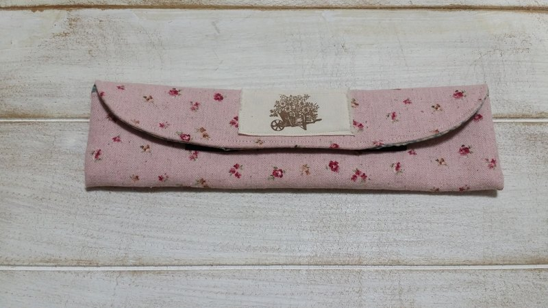 Pink small floral sets of chopsticks / cutlery pouch (medium)
