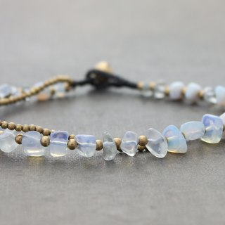 Opalite Stone Brass Beaded Anklets Brass Cotton Woven Ankle Bracelets