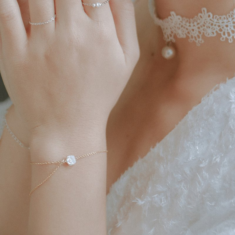 White Shell Rose Double Chain Bracelet, Adjustable