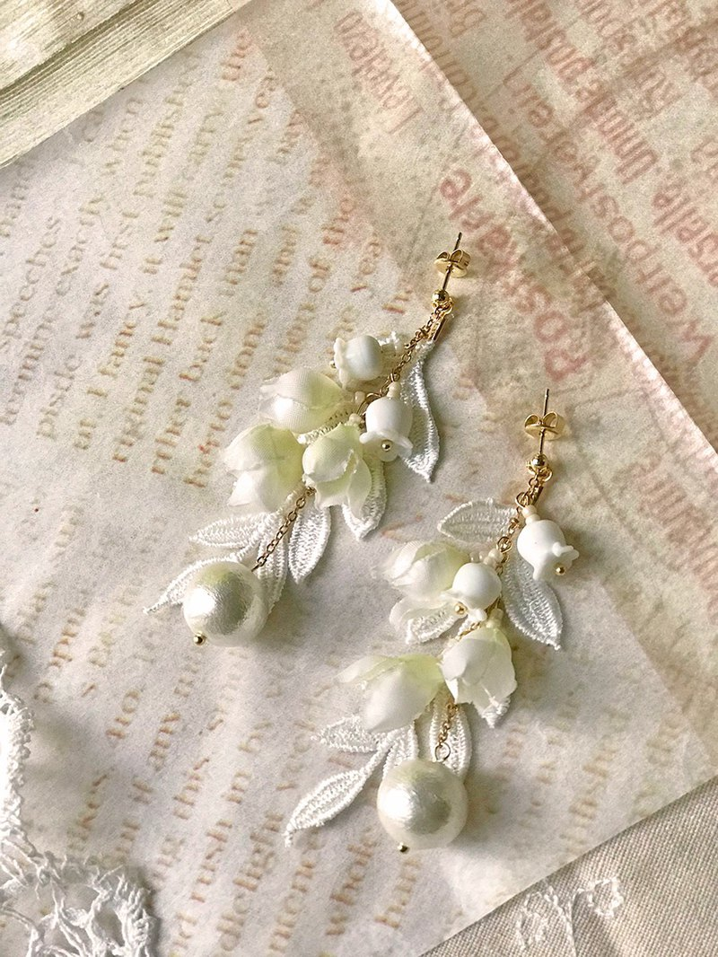 Jt Corner Lily of the Valley Glass Bead Earrings