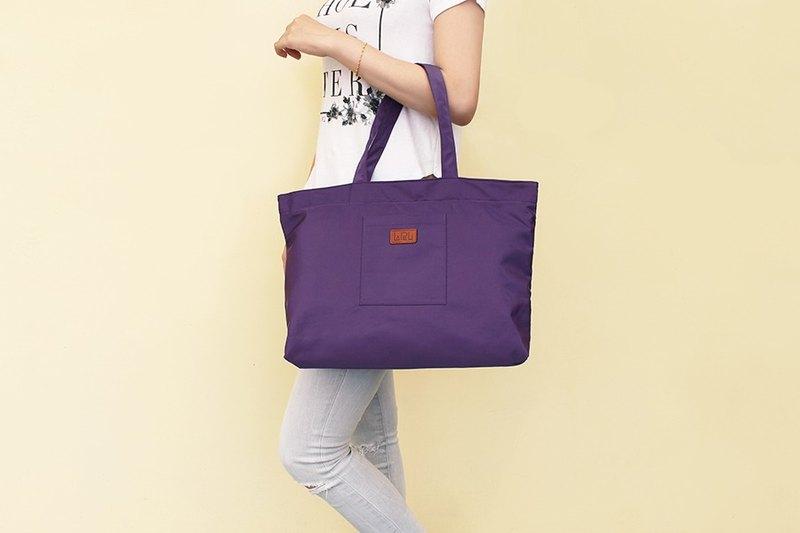 LAPELI │大容量滌綸手提包 紫