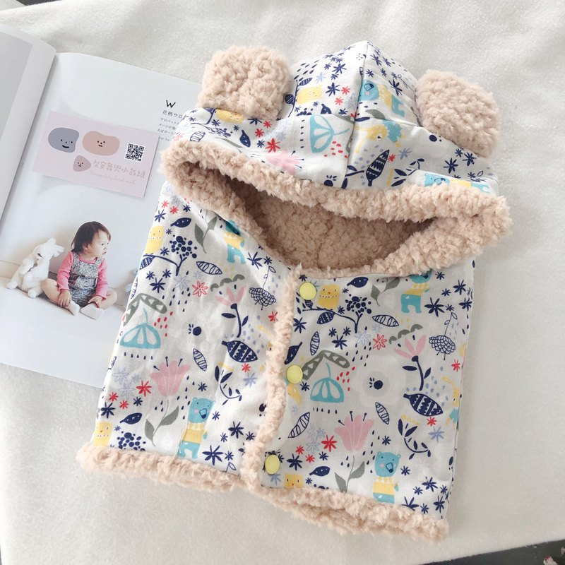White bear flowers and plants handmade super warm frizzy bear hat