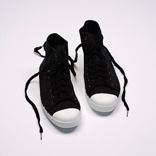 Spanish canvas shoes high tube black fragrant shoes 61997 01