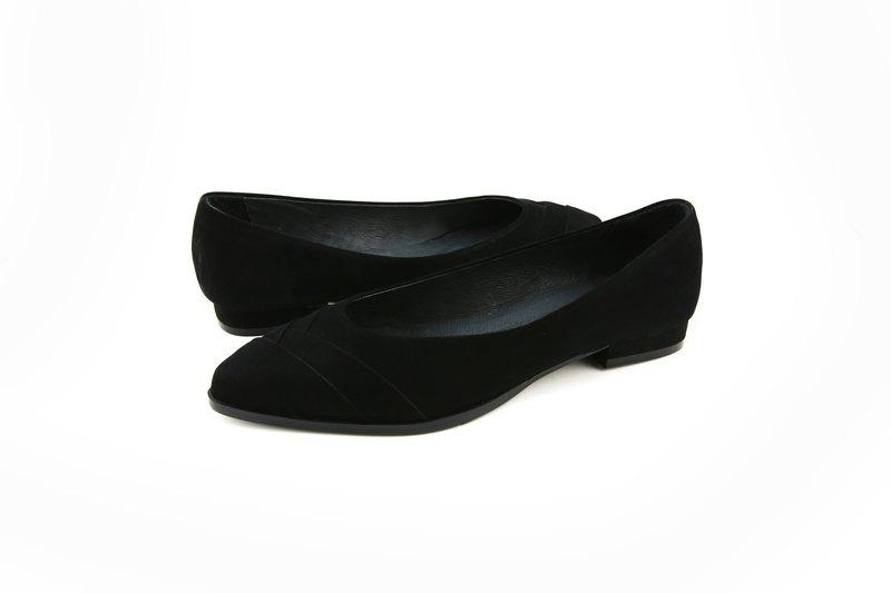 平底尖頭拼接淑女鞋