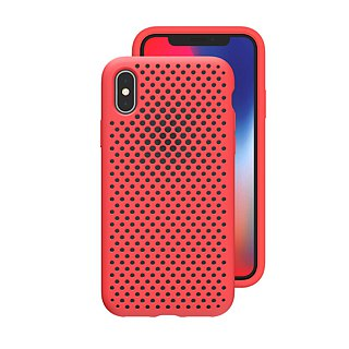 AndMesh-iPhone Xs Max dot soft anti-collision protective cover - bright red (4571384958714