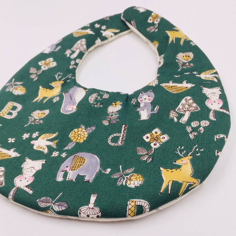 Green animal forest bib double yarn saliva towel
