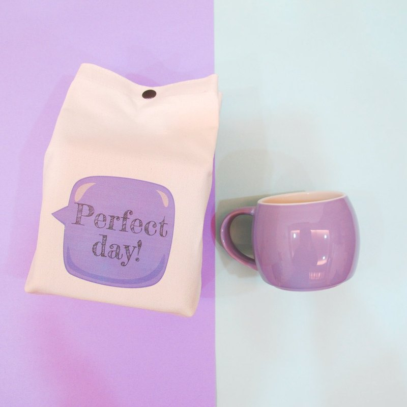 Customized - Macarons Stacked Mug Canvas Handle Folding Storage Bag - Lavender Purple