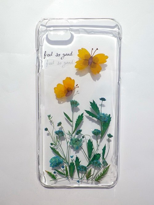 Handmade phone case, Pressed flowers iphone 6/6S plus phone case, Butterfly