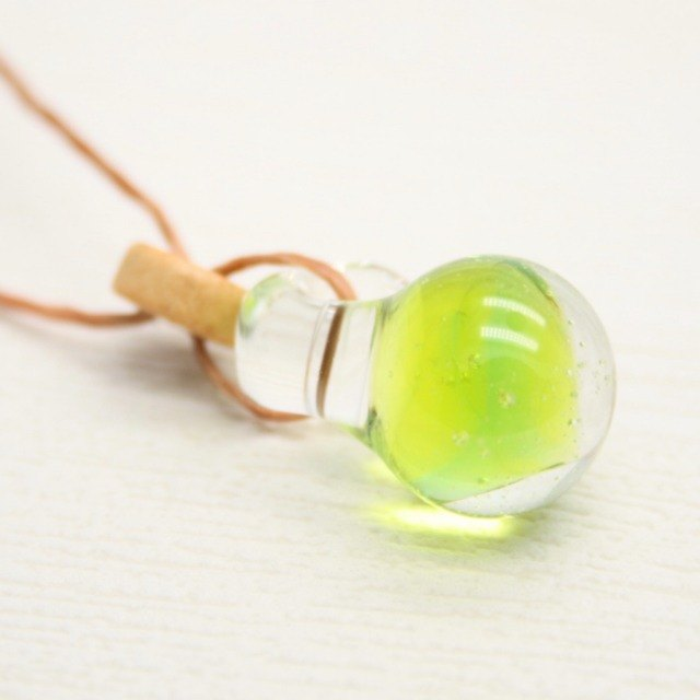Lemonlime pop soda, yellow and green, Aqua drop of glass pendant