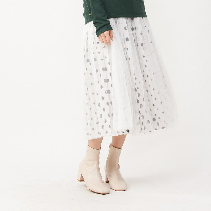a la sha+a temperament dot stitching pleated skirt