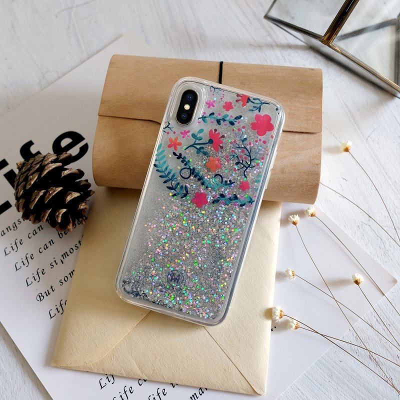 PATTERN LAB | Liquid Glitter Case for iPhone X - Flowers