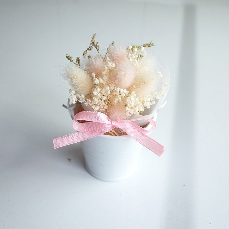 【Q-cute】 dry flower small potted flower series - pink hairy